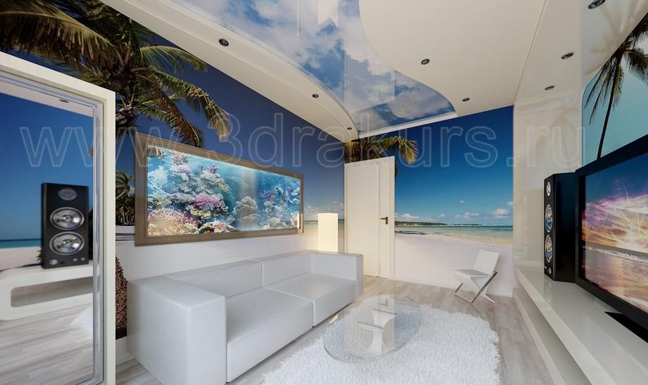 гостиная 3d визуализация