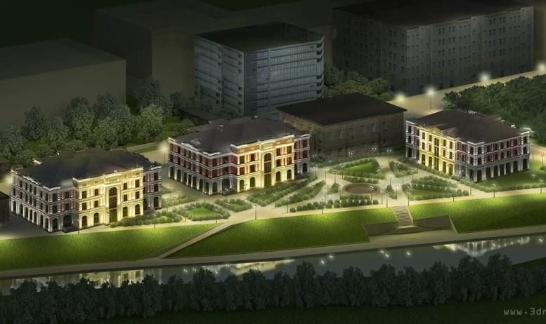 административные здания ночная визуализация
