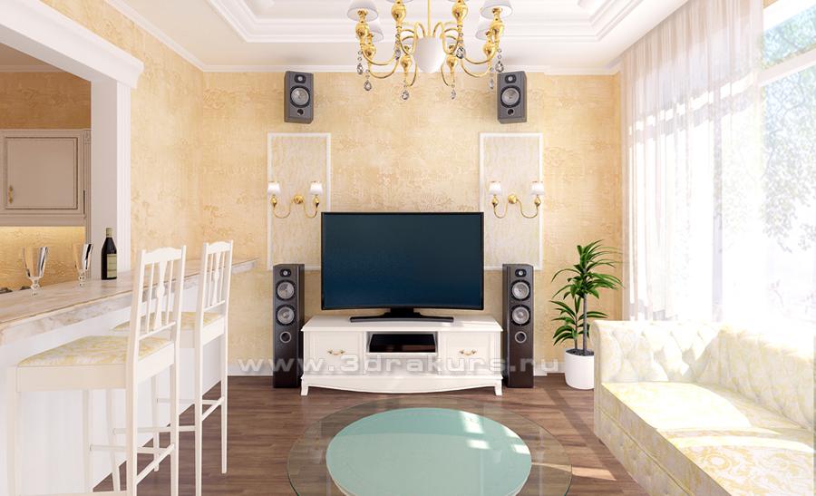 3d визуализация интерьера гостинной
